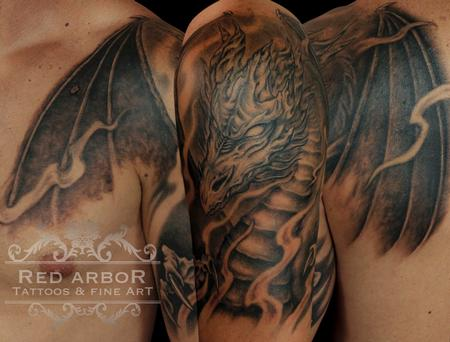 Tattoos - Black and Gray Mythical Dragon  - 111749
