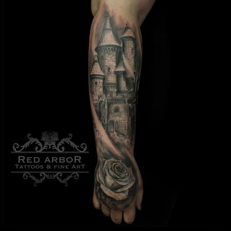 Tattoos - Narnia inspired castle and rose - 109187