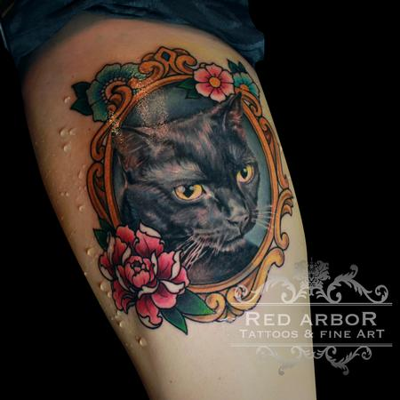 Kitty Cat Tattoo in a Frame Design Thumbnail