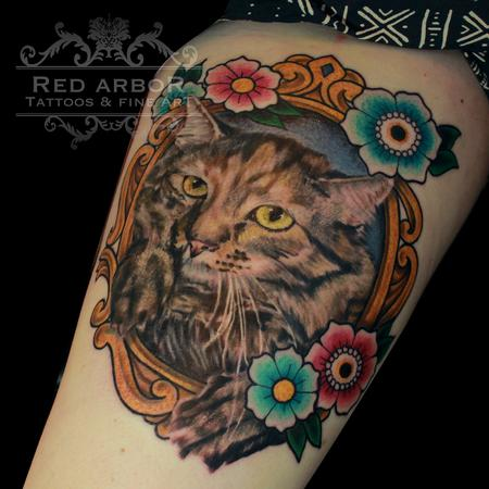 Tattoos - Kitty Cat Flowers in a Frame Tattoo - 130076