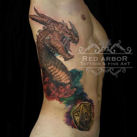 Tattoos - Dungeons and Dragons Rib Tattoo - 130078