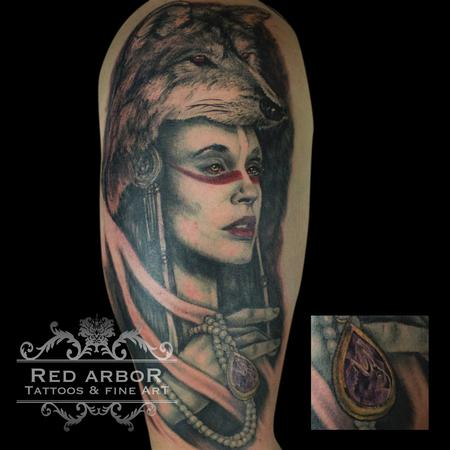 Warrior Woman With Wolf Headdress  Tattoo Design Thumbnail
