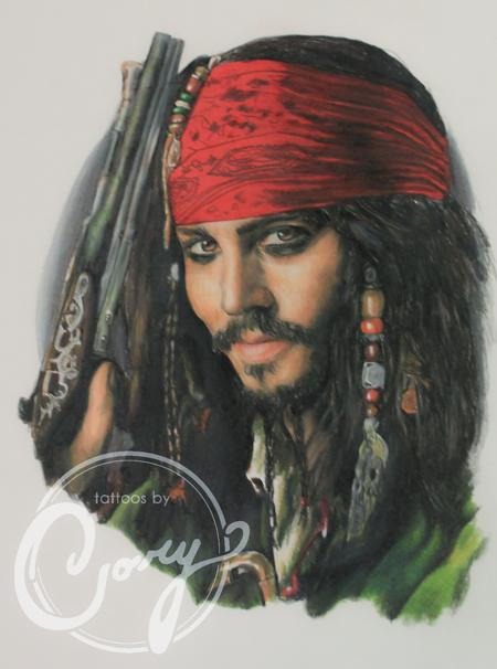 Tattoos - Johnny Depp Colored Pencil Portrait - 93913