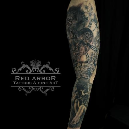Tattoos - Lion Liamb Angel Clock Tattoo - 130082