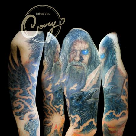 Tattoos - Odin nordic myth half sleeve tattoo - 95540