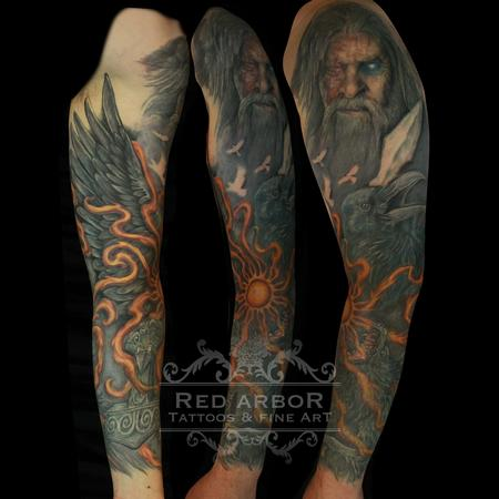Norse Mythology Ragnarok Odin Tattoo Design Thumbnail