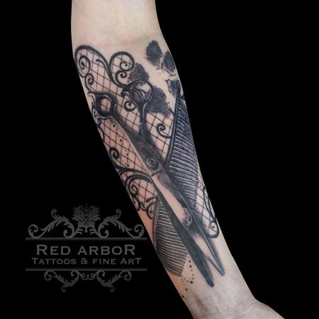 Tattoos - Scissors, Comb, Dog Print, Lace Tattoo - 130077