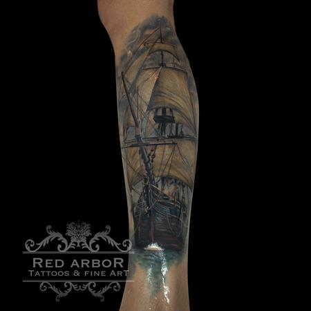 Sea Ship Tattoo Design Thumbnail