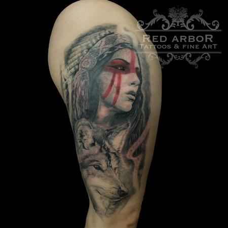 Tattoos - Warrior Woman Headress Wolf Tattoo - 130085