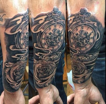 Tattoos - Clock and Rose - 126475
