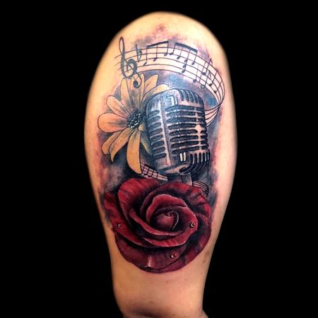 Tattoos - note music, mic and rose - 133490