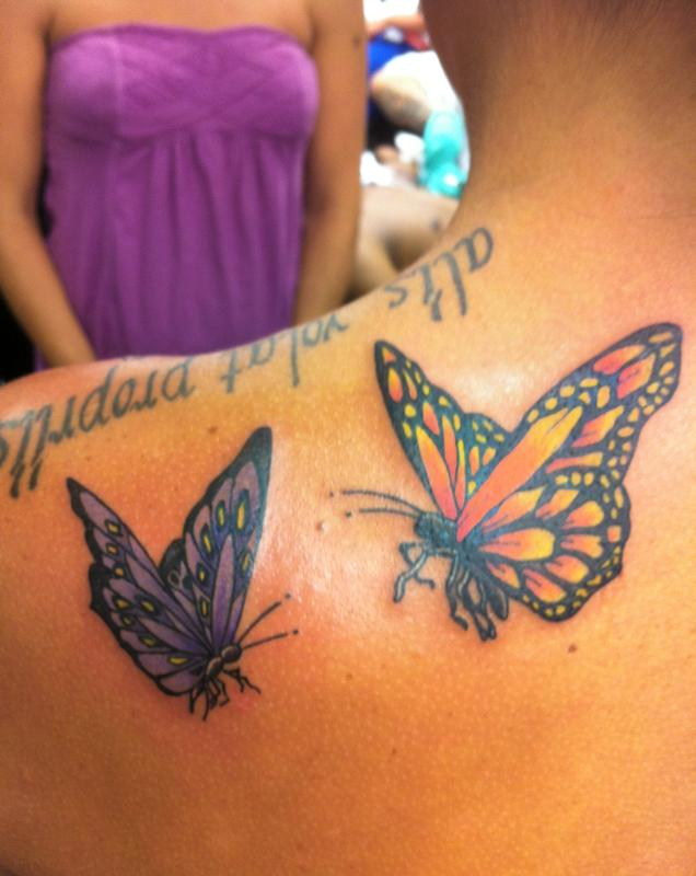 Orange and purple butterflies by curtis tattoonow for Purple butterfly tattoo