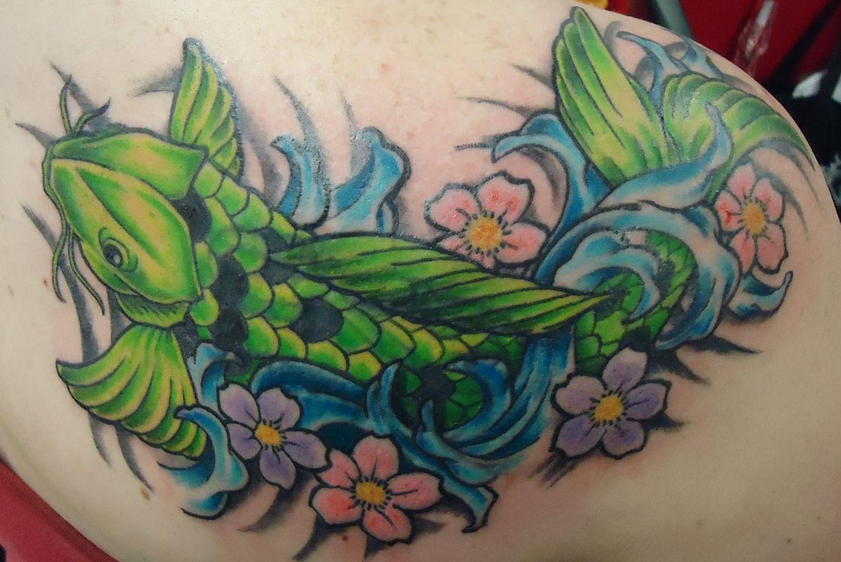 Koi fish cover up by shady smith tattoonow for Koi fish cover up