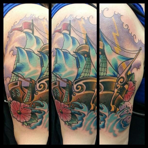 Clipper ship by tommy grundel tattoonow for Tattoo shops in annapolis