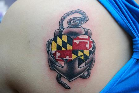 Maryland flag and anchor by jen white tattoonow for Tattoo shops in annapolis