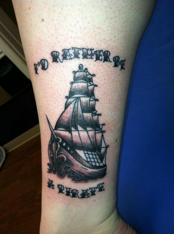 Pirate ship by jen white tattoonow for Tattoo shops in annapolis