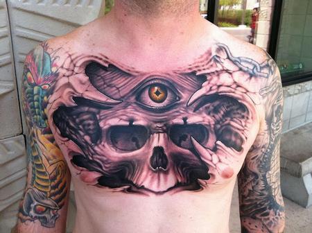 skull chest piece tattoo interior home design
