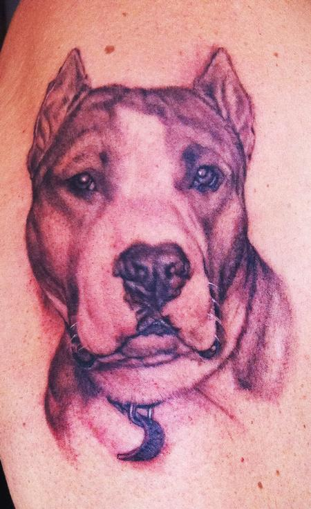 Pitbull Portrait Tattoo by Ethan Morgan: TattooNOW