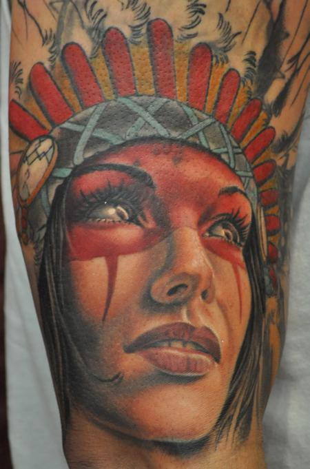 Native American girl tattoo in color Tattoo Design