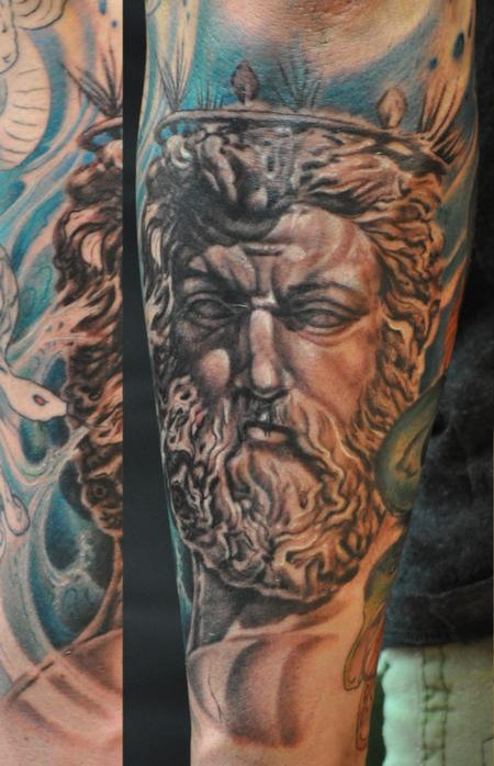 ares god of war statue portrait greek sleeve by roly viruez tattoonow. Black Bedroom Furniture Sets. Home Design Ideas
