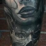 Day of the dead woman tattoo with skull in black and grey  Tattoo Design Thumbnail