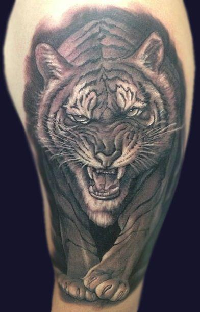 Black and Grey Tiger Tattoo Design Thumbnail
