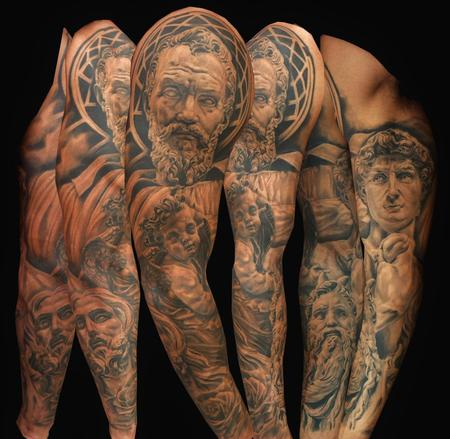 Tattoos - Sculpture Portrait Sleeve - 95942