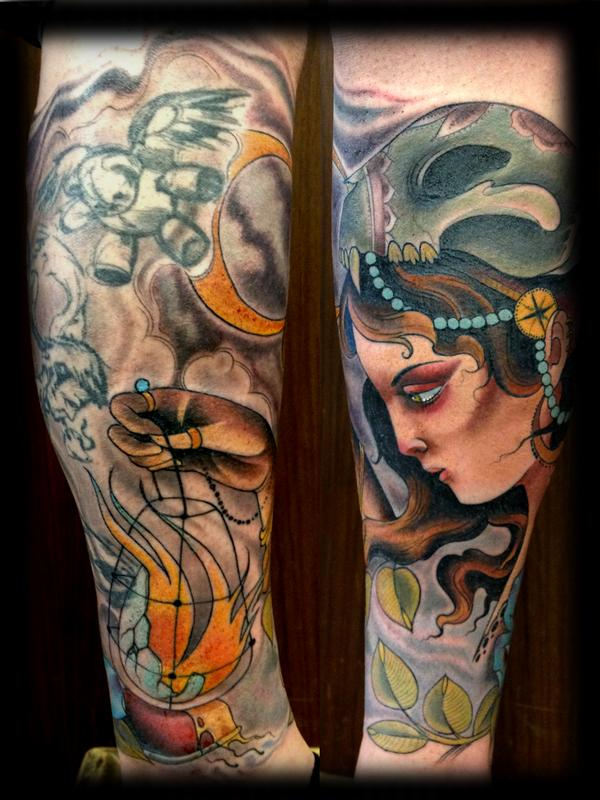 gypsy with broken lantern by Joshua Bowers: TattooNOW