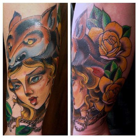 woman with fox and flowers Tattoo Design Thumbnail