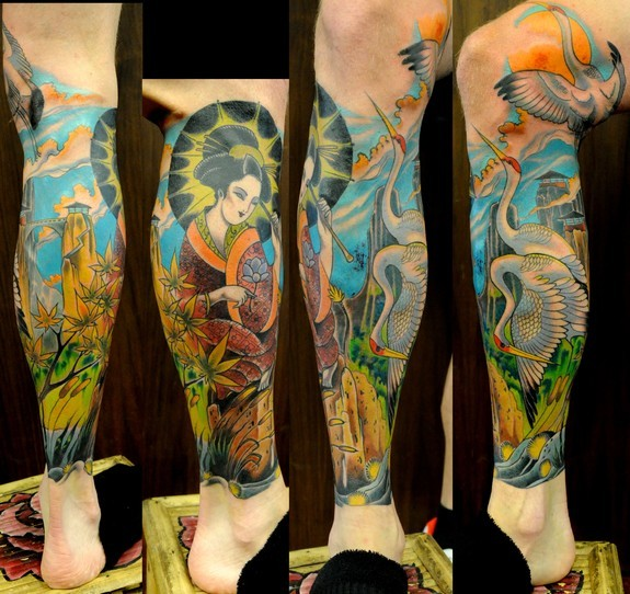 Tattoos - Joshua Bowers - Japanese style geisha and cranes