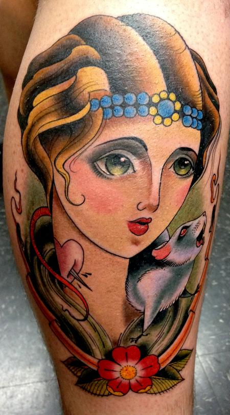 woman and rat Tattoo Design Thumbnail
