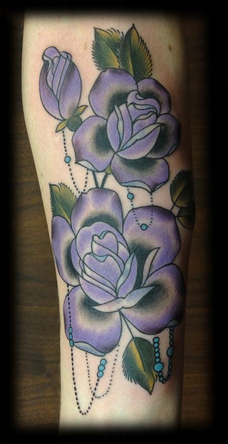 Tattoos - Joshua Bowers - Roses and pearls
