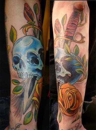 Joshua Bowers - skull rose and dagger