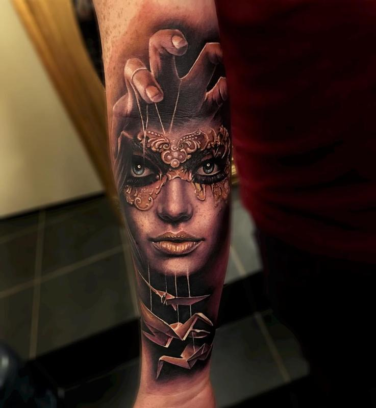 Tattoo Woman Mask: Masked Woman, Crane Puppets Forearm Tattoo By Sam Barber