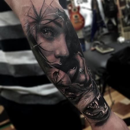 Tattoos - Girl, Wolf, Glass Composite Arm Tattoo - 115847