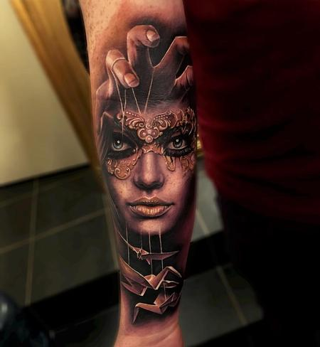 Sam Barber - Masked Woman, Crane Puppets Forearm Tattoo