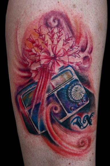 Tattoos - Flower tattoos - Full Colour Abstract Old School Radio with ...