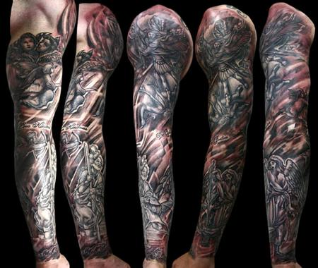keyword galleries black and gray tattoos religious tattoos blackwork    Religious Tattoo Sleeve