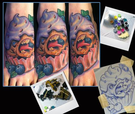 Blueberry Cupcake monster tattoo Tattoo Design Thumbnail