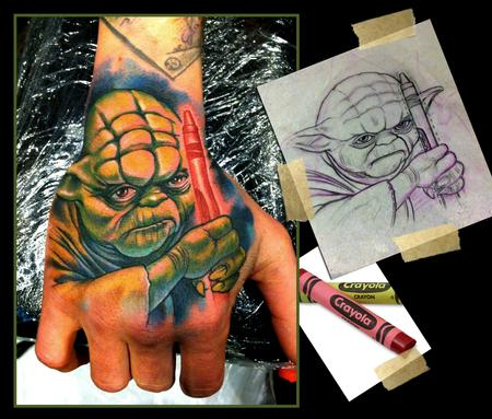 Scotty Munster - Yoda Hand Tattoo