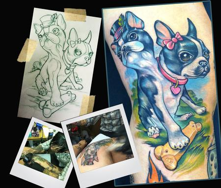 two Headed Boston Terrier Tattoo Tattoo Design Thumbnail