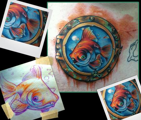 Goldfish tattoo by scotty munster tattoonow for Tattoo shops in st cloud mn