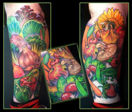 Fruits and Vegetables leg tattoo Tattoo Design Thumbnail