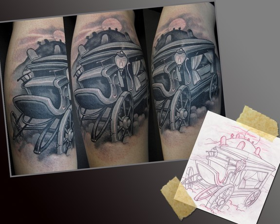 Hearse tattoo by scotty munster tattoonow for Tattoo shops in st cloud mn
