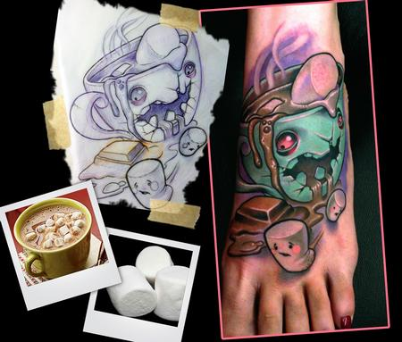 Hot Chocolate Monster Tattoo Design Thumbnail