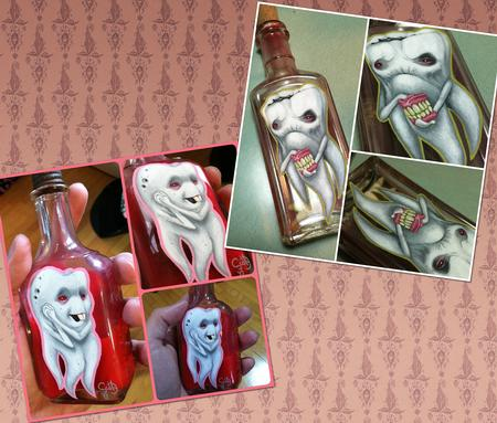 Scotty Munster - Teeth paintings on bottles