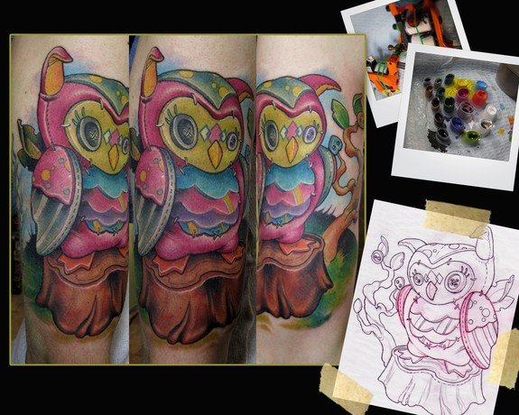 Patchwork owl tattoo by scotty munster tattoonow for Tattoo shops in st cloud mn