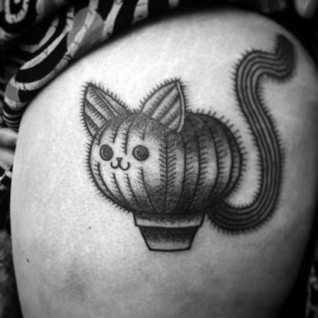Tattoos - cactus cat - 128688