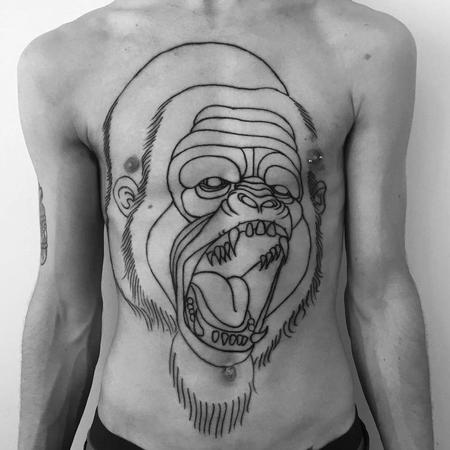 Tattoos - full chest gorilla outlines - 130720