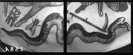 Tattoos - stomach snake - 114961